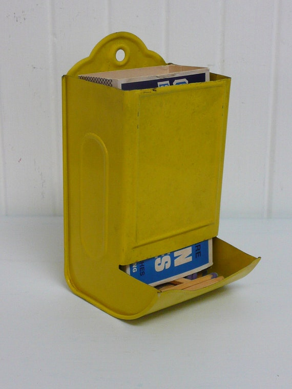 Vintage Bright Yellow Tin Metal Match Box Holder Safe - Vintage Travel Trailer and Home Decor