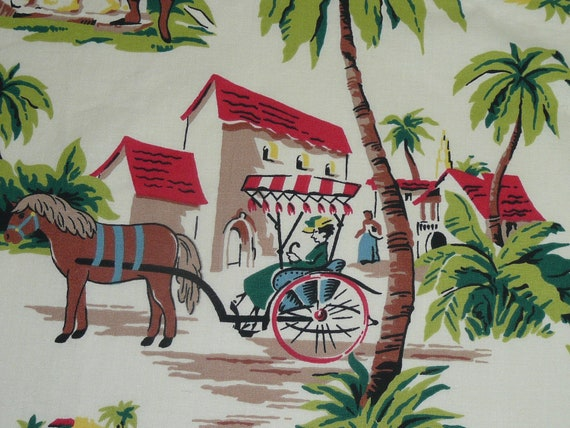Vintage Colorful Tropical Curtain Fabric by NewLifeVintageRVs