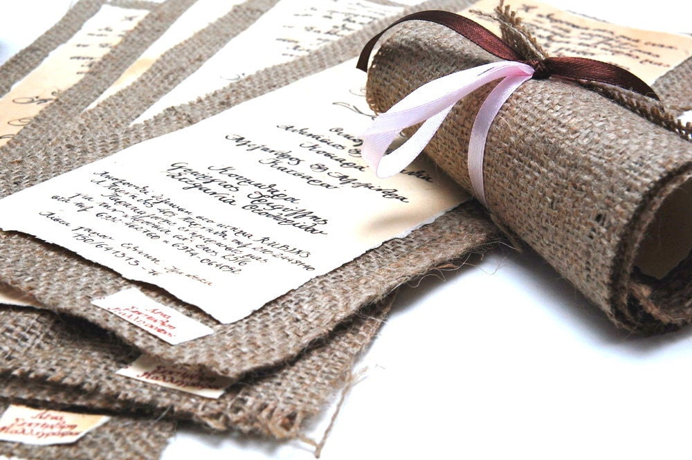 Wedding Invitations With Burlap: Items Similar To Wedding Invitations Vintage