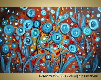 PRINT on Canvas-ready to hang-BLUE POPPIES on Brown-Fantasy Flowers by Luiza Vizoli
