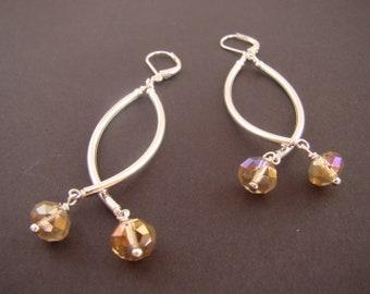 Dangle earrings, silver dangle earrings, extended earrrings, crystal earrings, stylish earrings, handmade jewelry, crystal dangle earrings