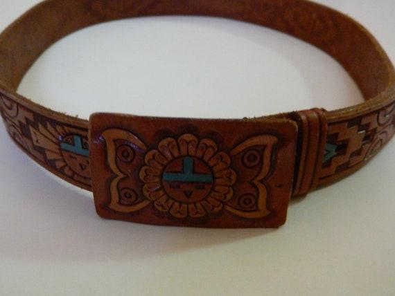Belt hand tooled leather belt Zuni Made belt vintage