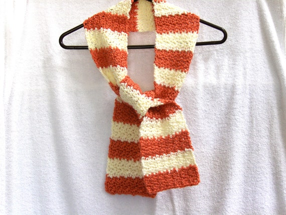 Crochet Scarf Striped in Orange and Cream