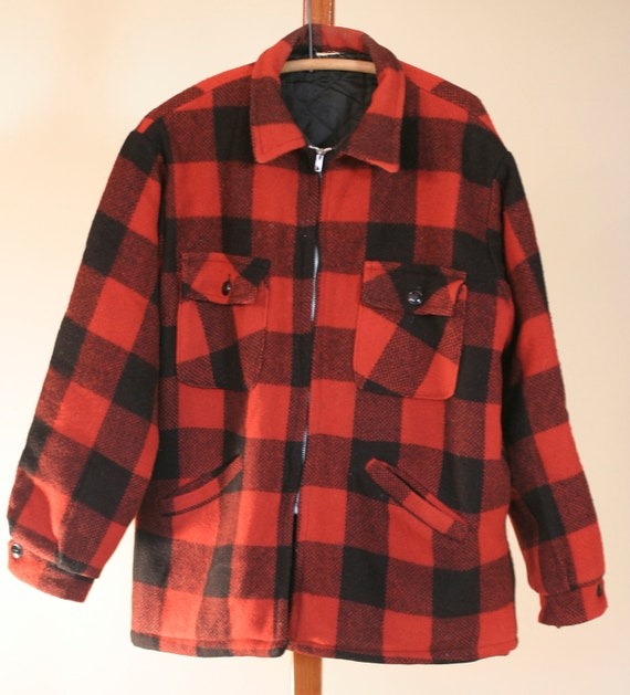 Vintage Buffalo Plaid Jacket Red Black Wool Lumberjack