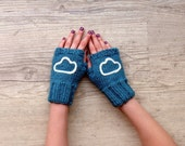 fingerless mittens with felt cloud - blue teal and white