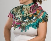 COLORFUL Shawl. Crochet Shawl or scarf. Hand made. Shawl with two roses.