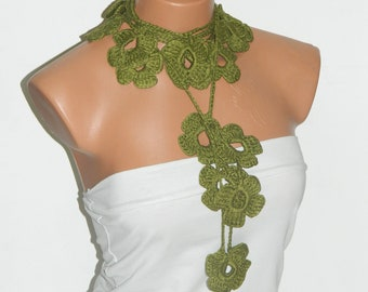 Hand made crochet green Flower Lariat Scarf. Fashion Flower Scarves, Necklace...
