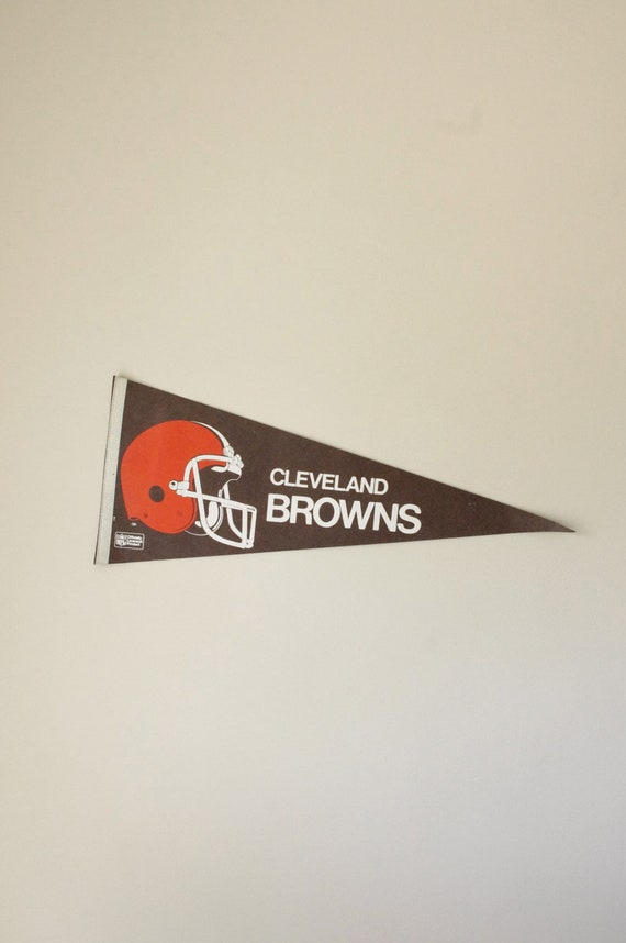 Vintage Cleveland Browns Pennant - Circa 1970's - NFL - Football - Brown and Orange