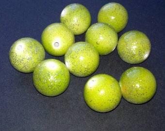 Green Glitter Gumball Beads