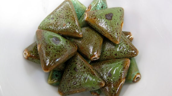 Large Green Ceramic Triangle Beads- Free Beads or Charm with Order