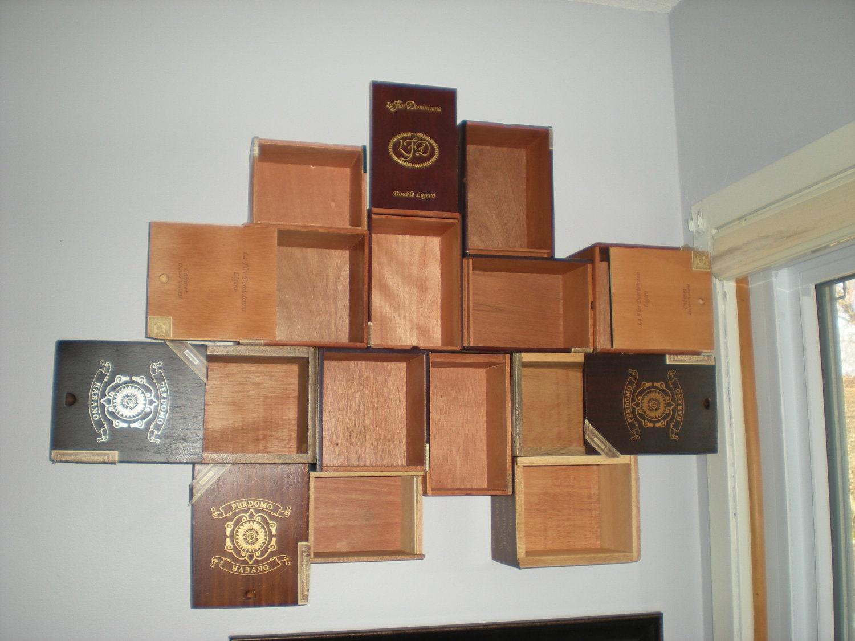 Vintage wooden cigar box curio shelf
