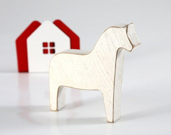 Scandinavian Dala horse wooden toy decor for Christmas, white // Housewarming gift // Christmas stocking stuffer // FREE SHIPPING