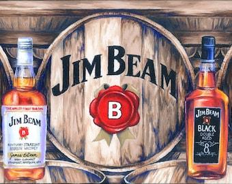Bourbon Inspired Oil Painting Print; jim beam; bourbon; whiskey; barware; distillery; kentucky; wall decor; bourbon gift