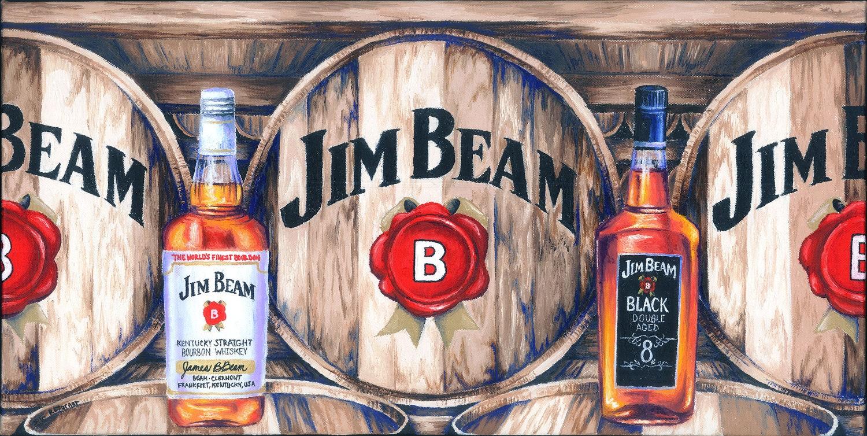 Bourbon Inspired Oil Painting Print jim beam bourbon