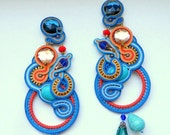 Soutace earrings CORAL REEF turquoise blue orange crystals
