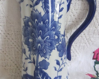 Vintage White and Blue Wall Vases By Formalities...
