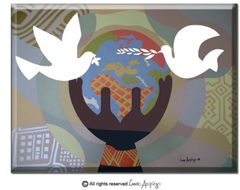 "Original World Peace Painting on Canvas - Large Dove Art Painting -  Pop Art Cubsm Acrylic Painting -  30"" X 36"" X 2"""