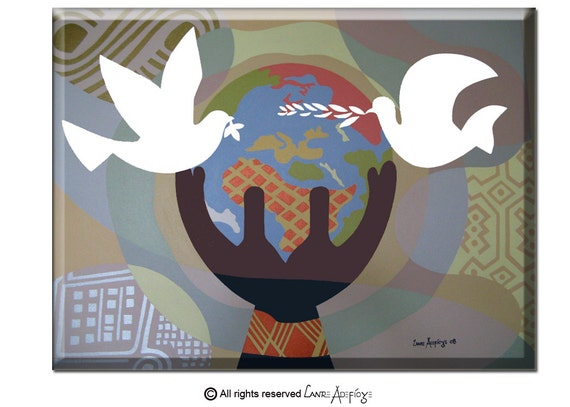 "Original World Peace Painting on Canvas - Large Dove Art Painting -  Pop Art Cubsm Acrylic Painting -  30"" X 36"" X 2"""