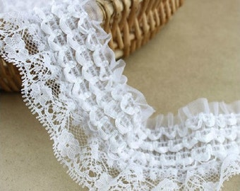 White Strech Lace Trim for Custom Doll Dress Fabric Supplies