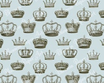 Light Blue Queen King Crowns - Vintage Digital Scrapbooking Paper - Blossom Paper Art - 12x12 inches - Printables - 1224