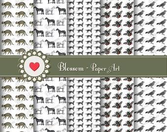 Black and White Digital Paper Animals Digital Paper Pack, Scrapbooking, Horses Flies Birds - 1062