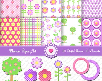 Flowers Clipart, Digital Scrapbooking Paper, Printables - 300dpi - 1341