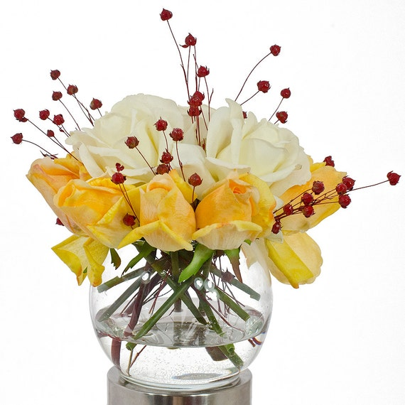 Real Touch White Rose Arrangement with Yellow Rose Bud Artificial Flowers in Round Glass Vase for Artificial Faux Arrangement Home Decor