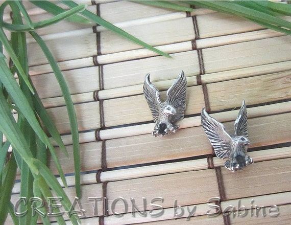 Bird Earrings, Sterling Silver, Eagles, Vintage REDUCED PRICE