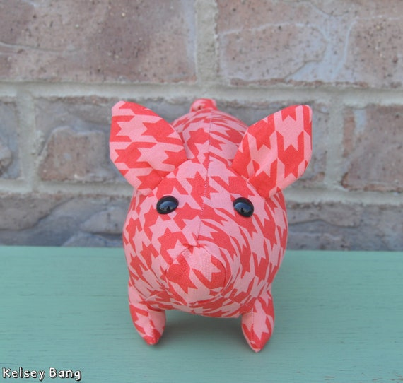 pig stuffed animal - pink and red extra large houndstooth