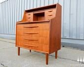 Danish Modern Mid Century Teak Desk / Vanity