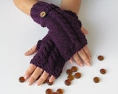 Purple Fingerless Gloves With Wooden Buttons,Knitting Pattern, Hand Arm Warmers,Winter Accessories, Fall Fashion,Mittens