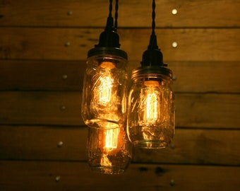 3 Pint Jar Pendant Light Mason Jar Chandelier Light - Hanging Mason Jar Hanging Pendant Light - Clear Pint Jar Lighting- Black canopy & Cord