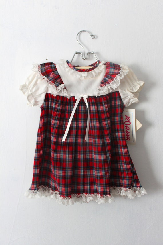 Vintage Baby Girls Plaid Christmas Dress W Tags Size 24