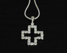 Cross Pendant, Cross Cz Pendant, Women Cross Pendant, 925 Sterling Silver Pendant
