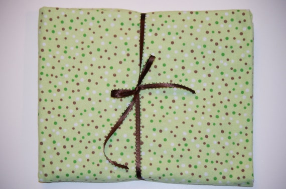 Extra Large Receiving/Swaddle Blanket - Green Brown Polka Dots  Blanket 36x42