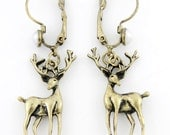 Simple cute Deer Pendant Pierced Lever Back Dangle Earrings