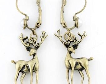 Simple cute Deer Pendant Pierced Lever Back Dangle Earrings