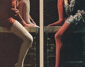 Pair of 2 Vintage Retro 1960s LACY STOCKINGS / Leggings Knitting Patterns - PDF Tutorial Instant Download