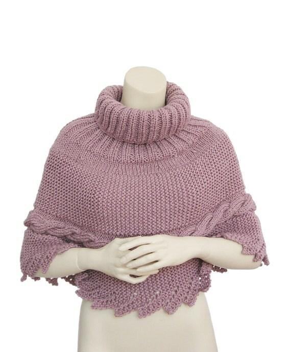 Magenta Poncho, size M-L poncho, Knitting poncho ,oversized poncho,women poncho