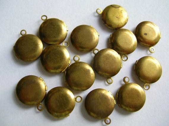 Little round brass lockets lot ,findings, jewelry supply,destash,brass