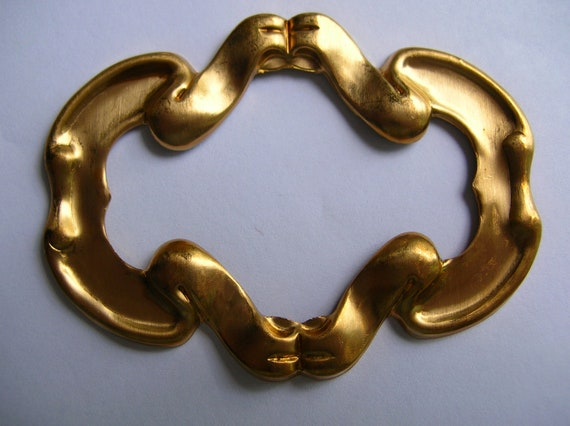 Large Baroque Art nouveau brass frame stamped findings lot,ornate,jewelry supply,destash,