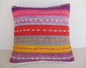 "Modern Bohemian Home Decor , Embroidered Handwoven Striped Vintage Tribal Turkish Kilim Pillow cover 16"" x 16"""