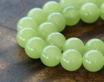 Dyed Jade Beads, Lime Green, 10mm Round - 15 inch strand - eSJR-G26-10
