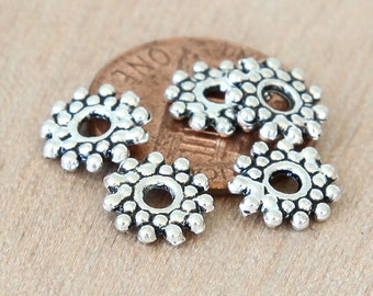 Spacer Beads, Antique Silver, 9mm Snowflake - 50 pcs - eTS009AS-9x2