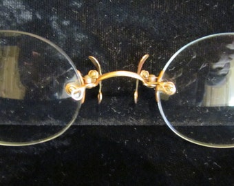 Antique Victorian Pince Nez Eyeglasses Rimless Spectacles 12K Gold Filled 1800s With Original Case Excellent Condition