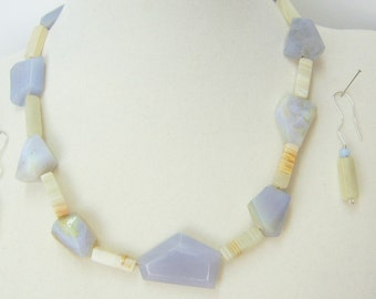 Blue Lace Agate necklace and earrings