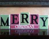 Wood Merry Christmas Blocks - Wood Merry Christmas Sign -  Seasonal home decor