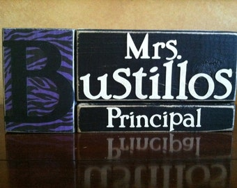 Personalized Principal sign, principal gift, teacher gift, desk decor, name sign, name plate, secretary gift, counselor gift
