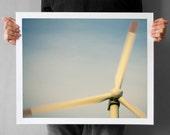 Windmill Photography - 16x20, Wall Art Print, Wind Turbine Photograph, dusk blue