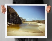 River Flowing into The Beach 16x20, Fine Art Photography, Giclee Print, Large Art Print, beige yellow blue